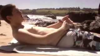 Young Boy caught jerking at the beach, also huge cum