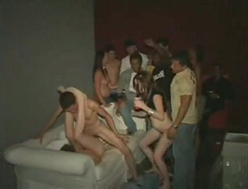 Drunk boys fuck in public at a party