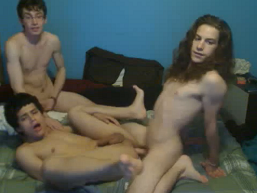3 American Twinks 3some in front of webcam