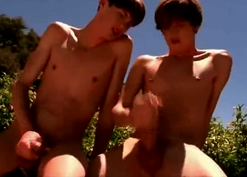 Twinks masturbating outdoors