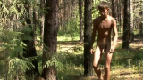Teen Russian boy naked and wanking in the woods