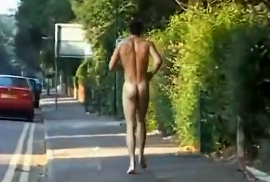 Guy naked on the streets in public