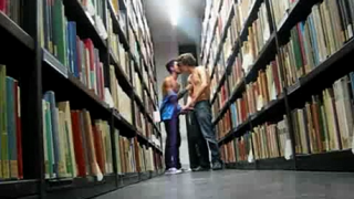 Teen Boys wank and cum at public library