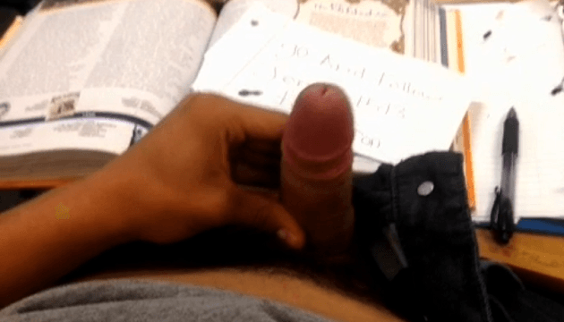 Teen boy wanking and cumming at school in class during detention
