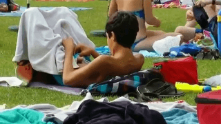 Boy caught jerking off at the pool in public