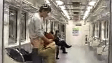 Gay boy blowjob in Subway with people around – Exhibitionist
