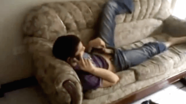 Teen boy caught jerking off by flatmate while talking on the phone