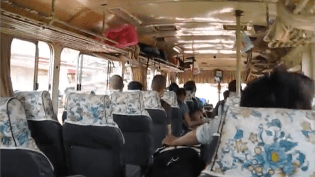 Thailand boy cums in public bus