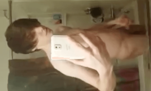 Horny lad recording naked body in bathroom mirror – selfie