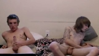 Straight friends naked and acting gay on cam for money