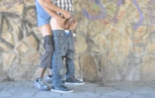 Teen boys recording themselves fucking outside under bridge