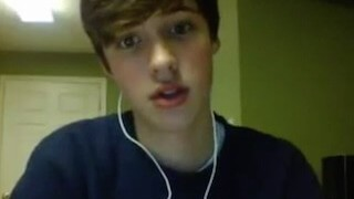 Omegle teen boy wanks and cums