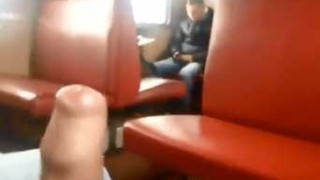 Exhibitionist twink cums huge on train with people around