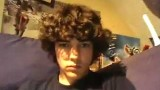 Cute curly hair teen boy strips, jerks off and cums