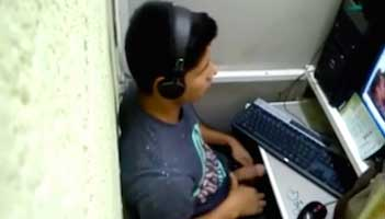 Teen boy caught jerking off at an internet cafe