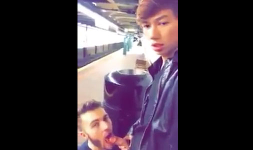 Sucking Asian boy's cock in the subway station